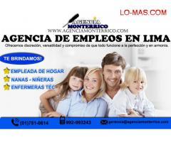 Agencia de empleadas del hogar, agencia de niñeras en Lima.