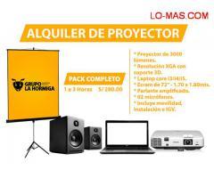 ALQUILER DE PROYECTOR MULTIMEDIA + ECRAN + LAPTOP + PARLANTES + MICRÓFONOS