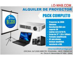 ALQUILER DE PROYECTOR MULTIMEDIA + ECRAN 72 PULGADAS